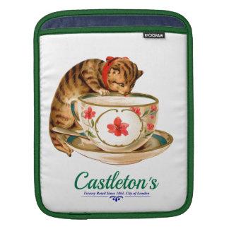 Affiche vintage de tasse de thé et de chaton pour housse iPad