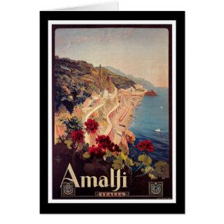Affiche vintage de voyage d'Amalfi, Italie Carte