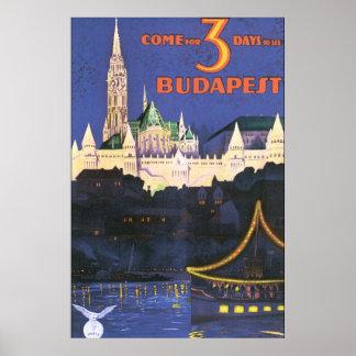 Affiche vintage de voyage de Budapest Poster