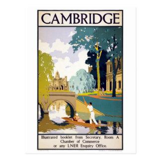 Affiche vintage de voyage de Cambridge Carte Postale