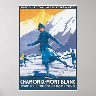 Affiche vintage de voyage de Chamonix Mont Blanc Poster