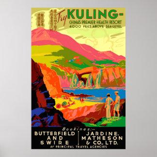 Affiche vintage de voyage de Chinois de Kuling