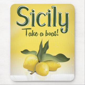 Affiche vintage de voyage de citron de la Sicile Tapis De Souris