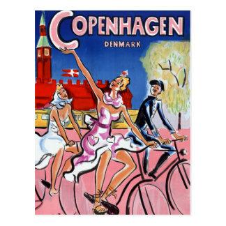 Affiche vintage de voyage de Copenhague Carte Postale