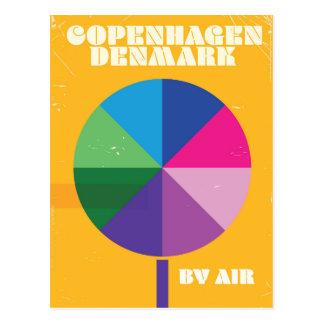 Affiche vintage de voyage de Copenhague, Danemark Cartes Postales