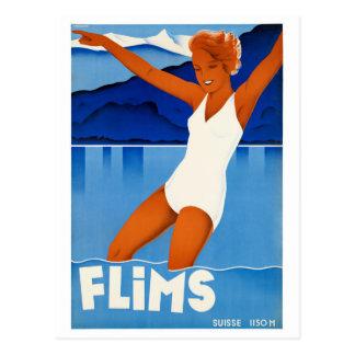 Affiche vintage de voyage de Flims Suisse Carte Postale