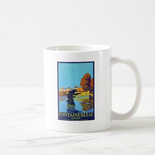 Affiche vintage de voyage de Fontainebleau Mug À Café