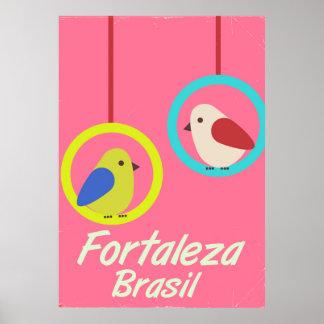 Affiche vintage de voyage de Fortaleza Brésil Poster
