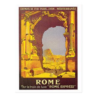 """Affiche vintage de voyage de Français de """"Rome"""" Carte Postale"""