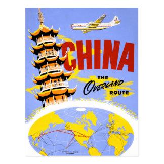 Affiche vintage de voyage de la Chine reconstituée Carte Postale