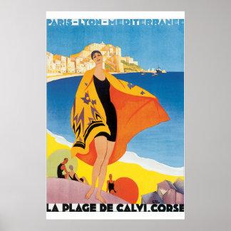 Affiche vintage de voyage de la plage De Calvi Poster