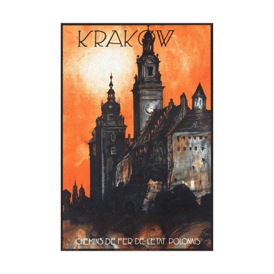 Affiche vintage de voyage de la Pologne Cracovie Toiles