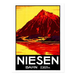 Affiche vintage de voyage de la Suisse Niesen Carte Postale