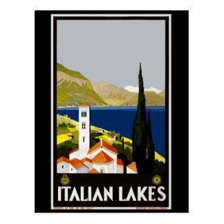 Affiche vintage de voyage de lacs italiens cartes postales