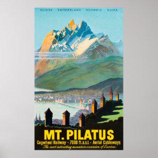 Affiche vintage de voyage de Mt.Pilatus Suisse Poster