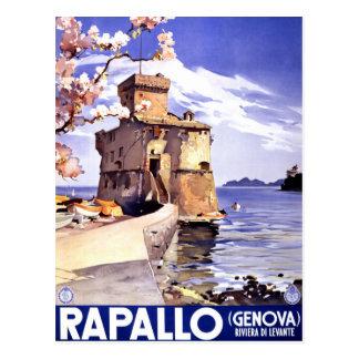 Affiche vintage de voyage de Rapallo Gênes Italie Carte Postale