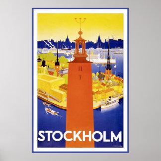 """Affiche vintage de voyage de """"Stockholm"""""""
