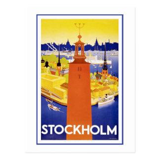 """Affiche vintage de voyage de """"Stockholm"""" Carte Postale"""