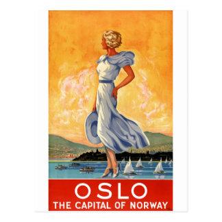 Affiche vintage de voyage d'Oslo Norvège Carte Postale