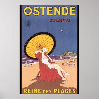 Affiche vintage de voyage d'Ostende-Belgique