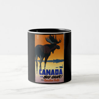 Affiche vintage de voyage du Canada Mug Bicolore