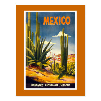 """Affiche vintage de voyage du """"Mexique"""" Cartes Postales"""