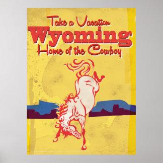 Affiche vintage de voyage du Wyoming