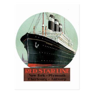 Affiche vintage de voyage - ligne rouge d'étoile cartes postales