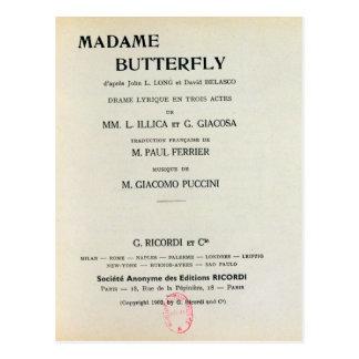 Affiche voor Mevrouw Butterfly door Giacomo Briefkaart
