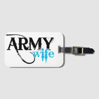 Affligé marquant avec des lettres l'épouse d'armée étiquette à bagage