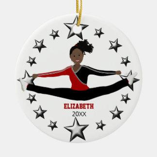 Afro-américain de danse ou d'acclamation rouge et ornement rond en céramique