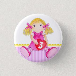 Âge de fille de poupée de chiffon insigne de badge rond 2,50 cm