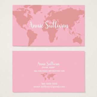agent de voyage rose élégant de carte du monde