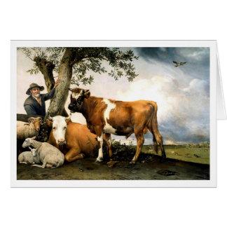 Agriculteur avec des vaches et des moutons carte