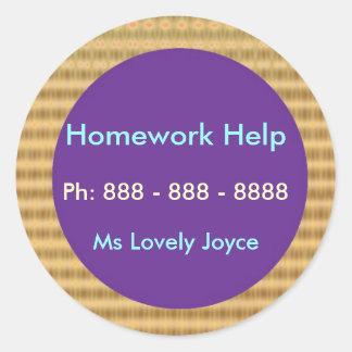 Aide de devoirs - produits de soutien aux sticker rond