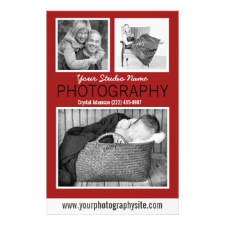 Aide des affaires du photographe avec trois photos prospectus 14 cm x 21,6 cm