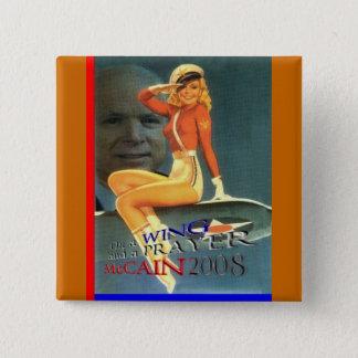 Aile de McCain et bouton de pin-up de prière Badge Carré 5 Cm