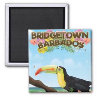 Aimant Affiche de voyage de toucan de Bridgetown Barbade