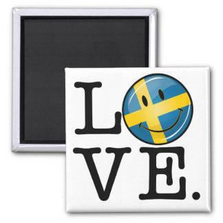 Aimant Amour de drapeau de sourire de la Suède
