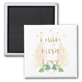Aimant Amour floral lilas d'espoir de foi d'or