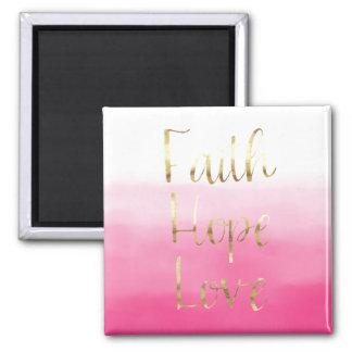 Aimant Amour rose d'espoir de foi d'aquarelle d'or