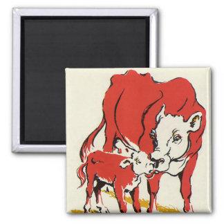Aimant Animaux de ferme vintages, maman Cow avec son veau
