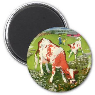 Aimant Animaux de ferme vintages, vaches frôlant avec
