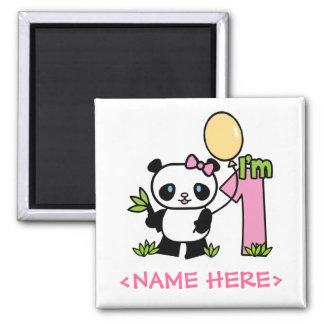Aimant Anniversaire de fille de panda premier