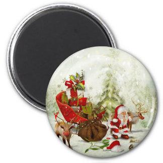 Aimant Arrêt de la région boisée de Père Noël - renne et