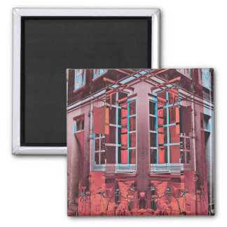 Aimant Art numérique bleu rouge de réflexion de fenêtres