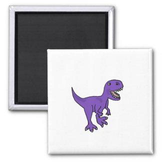 Aimant Bande dessinée pourpre drôle de dinosaure de T-Rex