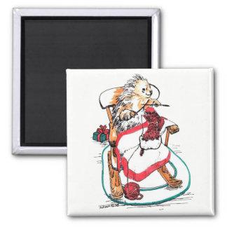 Aimant Bas drôle de tricot de porc-épic de Noël