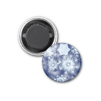 Aimant Bleu glacial de flocons de neige d'hiver