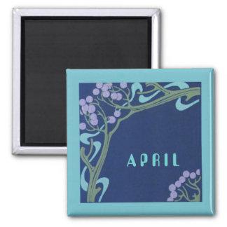 Aimant carré de Nouveau d'art d'avril par Janz
